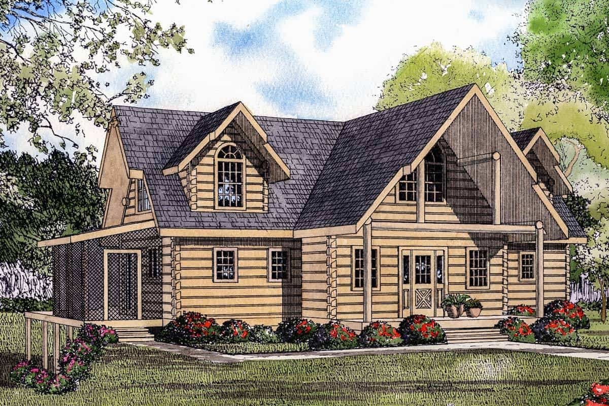 Sketch of the 2-story log house.