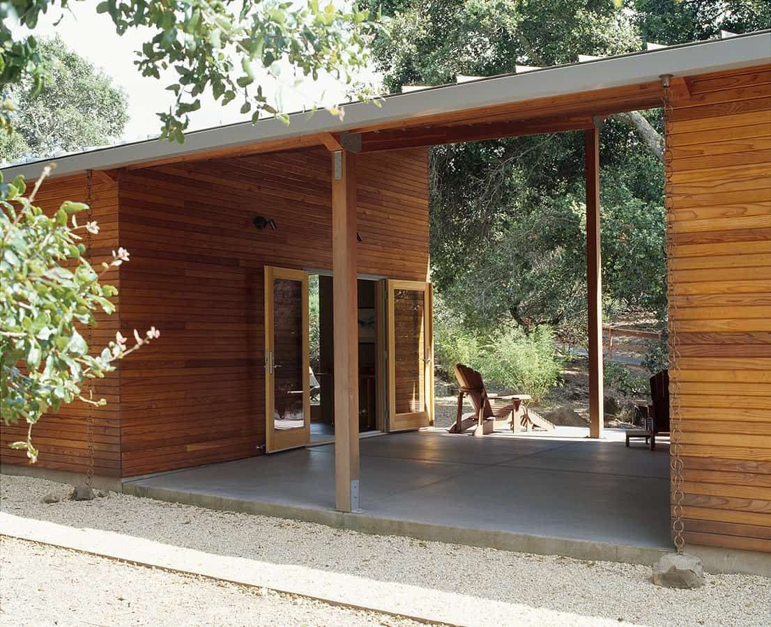 Covered patio of The Manzanita House designed by Klopf Architecture.