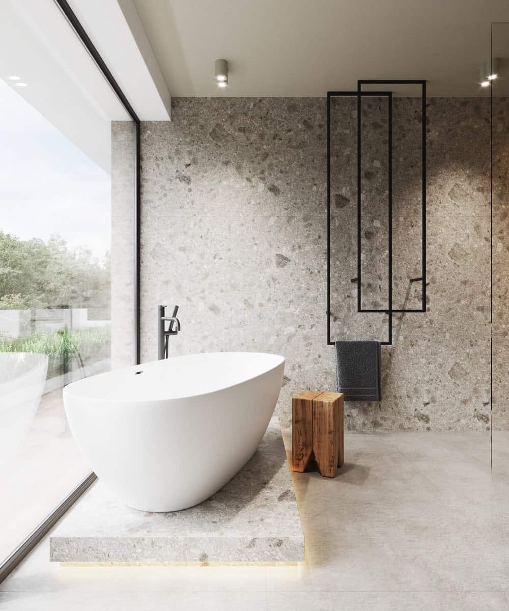 Primary bathroom in the Minimalist Home Interior designed by Johny Mrazko and Studioe.
