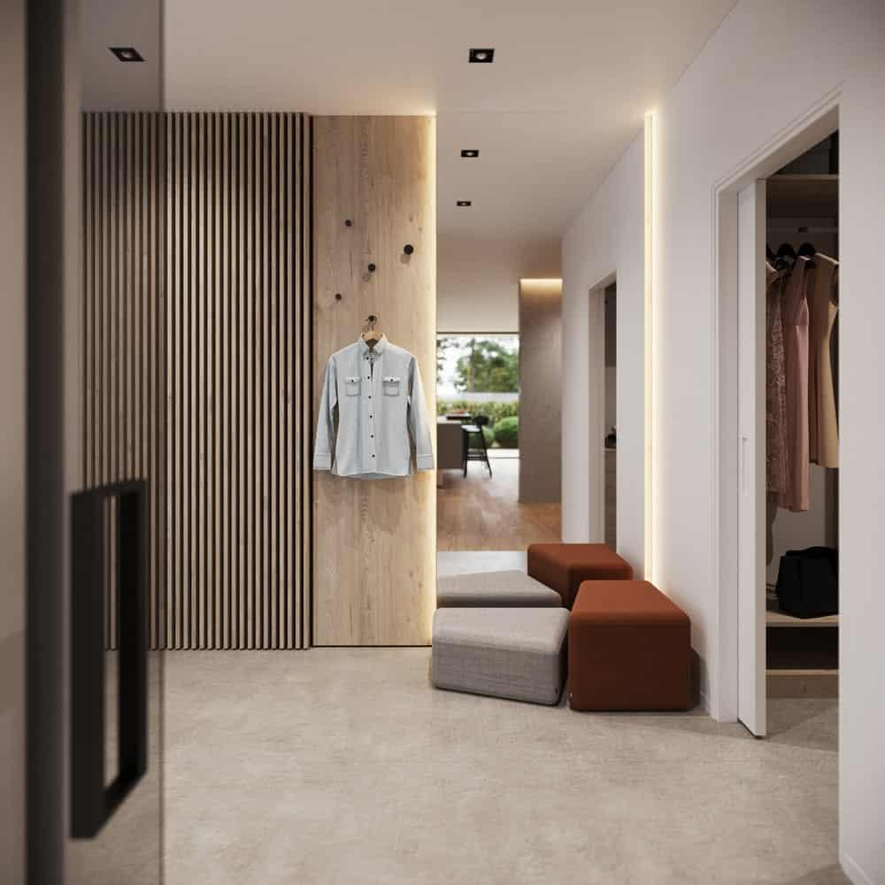 Hallway in the Minimalist Home Interior designed by Johny Mrazko and Studioe.