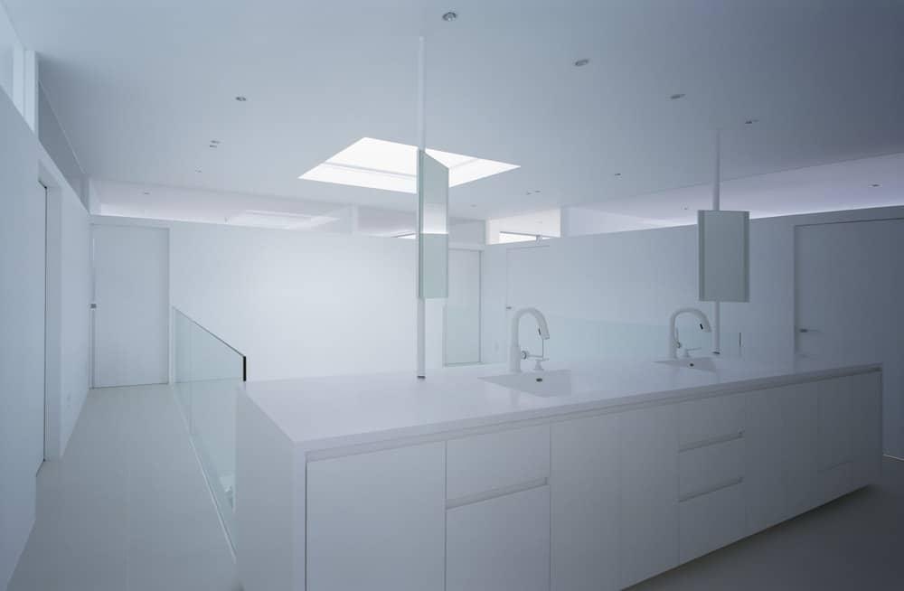 Washroom in the House in Takamatsu designed by Fujiwaramuro Architects.