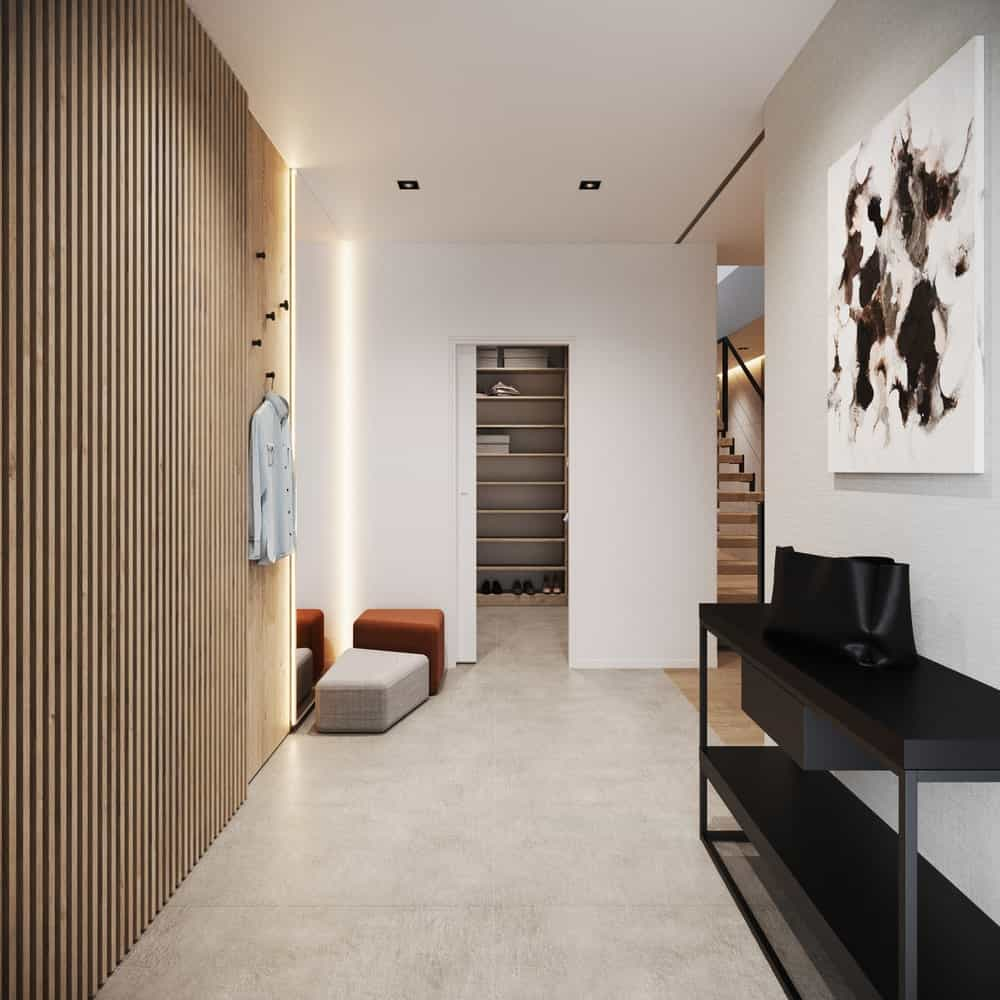 Foyer in the Minimalist Home Interior designed by Johny Mrazko and Studioe.