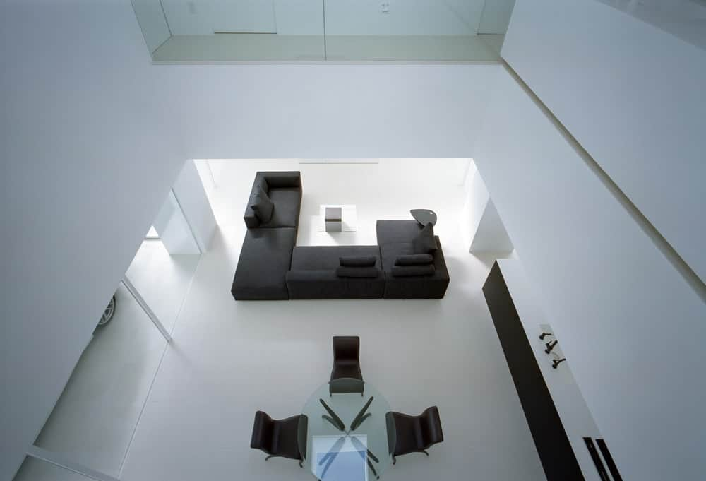 Top view of the living and dining area in the House in Takamatsu designed by Fujiwaramuro Architects.
