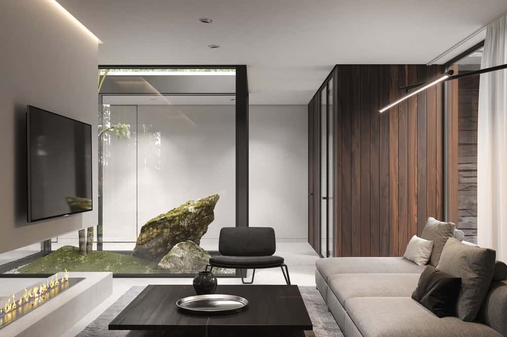 Living room in the Forest House designed by Bezmirno.