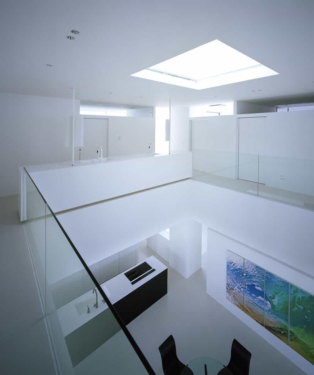 Second floor illuminated by a skylight in the House in Takamatsu designed by Fujiwaramuro Architects.