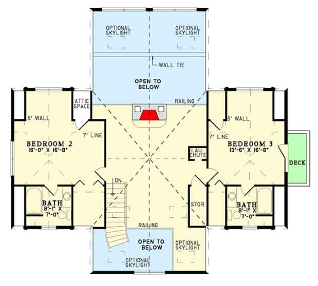 Second level floor plan of a log home with optional skylights and two bedrooms each with an en-suite bath and access to the private deck.