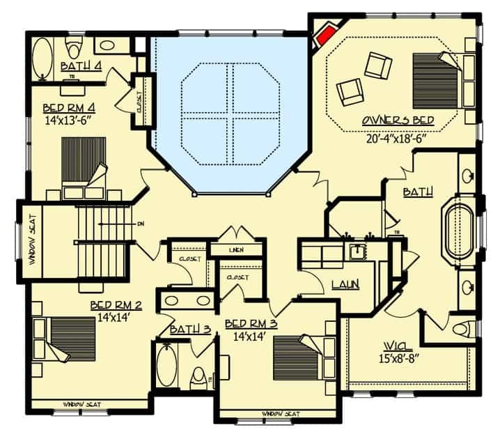 Second-level floor plan of a Craftsman home featuring four bedrooms.