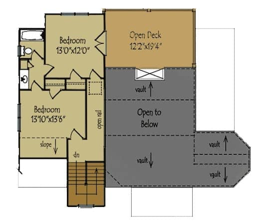Second-level floor plan of a mountain home with two bedrooms and an open deck.