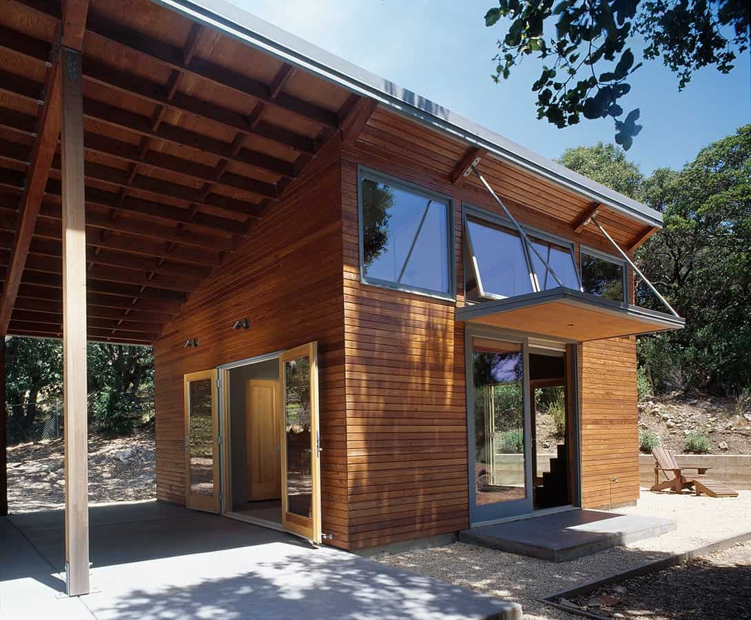 Angled side exterior view of The Manzanita House designed by Klopf Architecture.