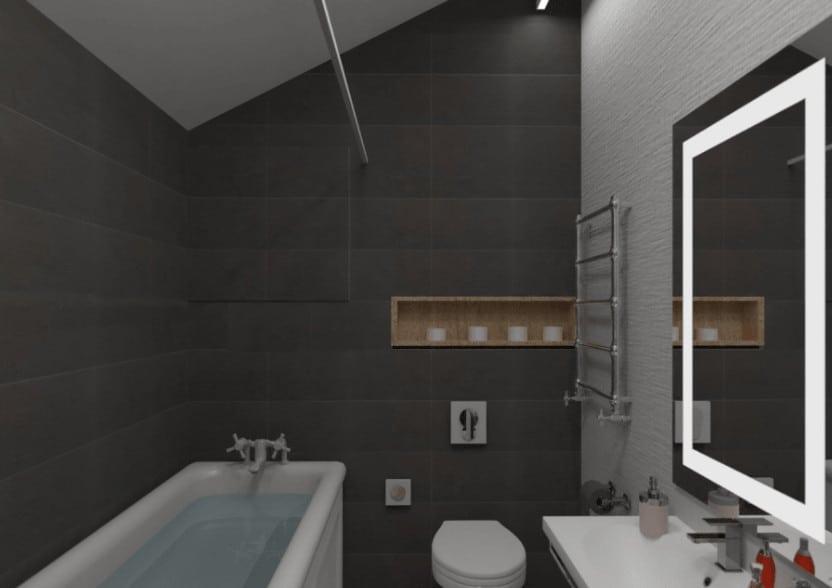 Bathroom with a high ceiling