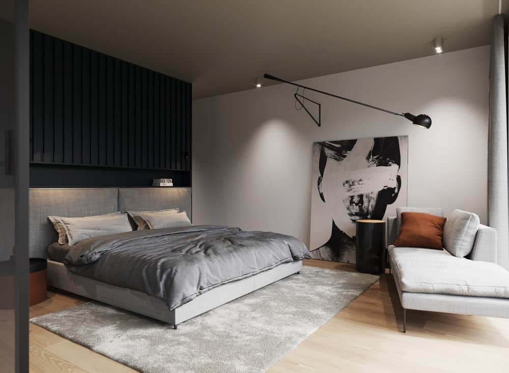 Primary bedroom in the Minimalist Home Interior designed by Johny Mrazko and Studioe.
