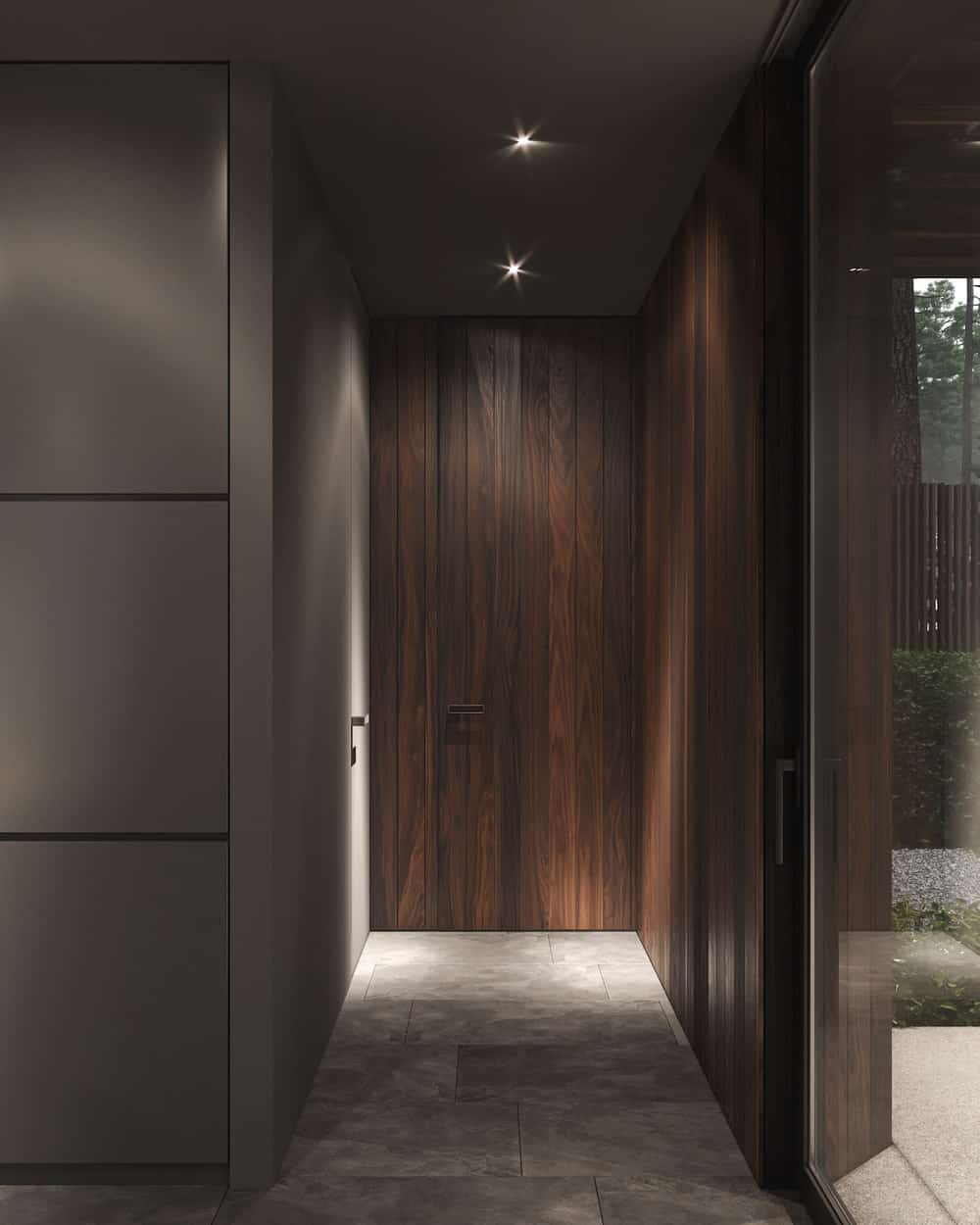 Hallway in the Forest House designed by Bezmirno.