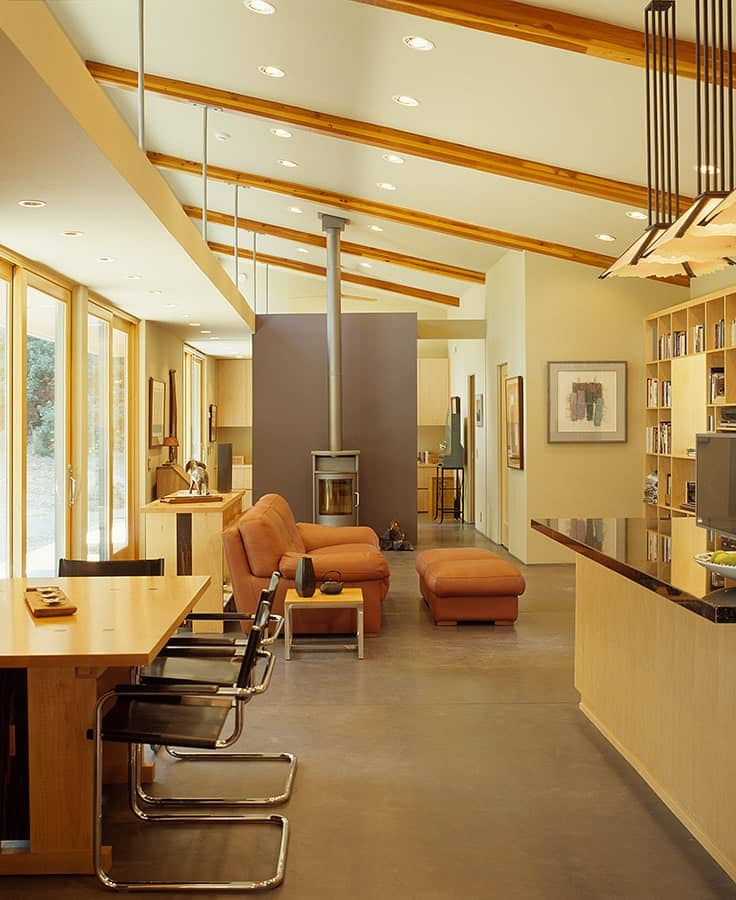 Living area in The Manzanita House designed by Klopf Architecture.