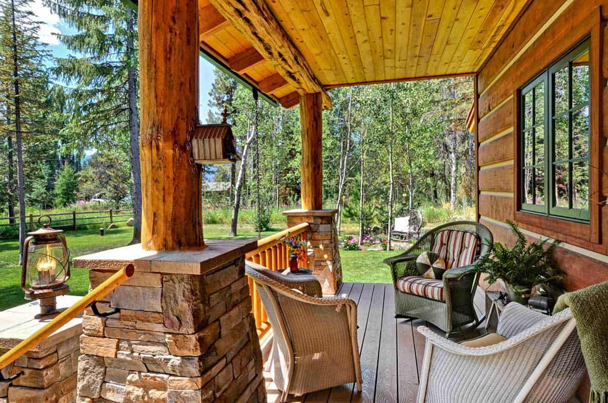 Multiple cozy wicker chairs filled the covered porch.
