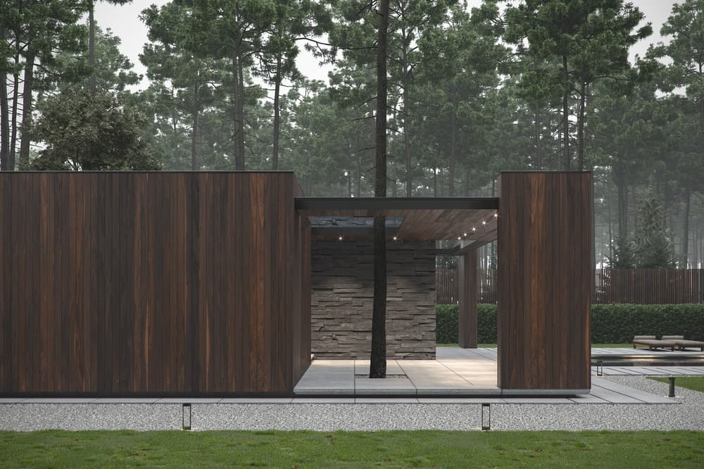 Back exterior of the Forest House designed by Bezmirno.