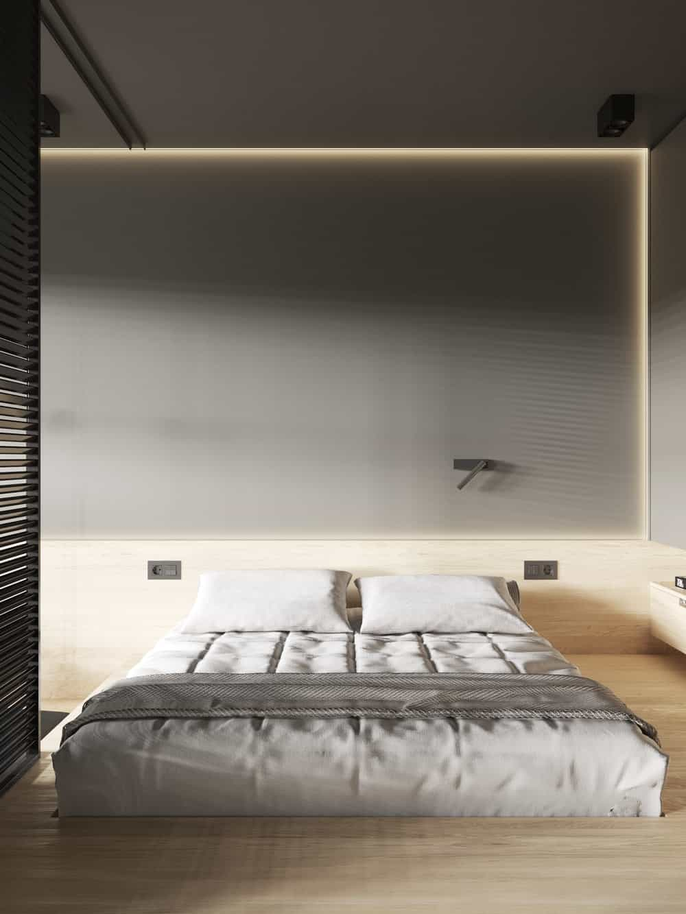 Primary bedroom in the Goose designed by Cartelle Design.