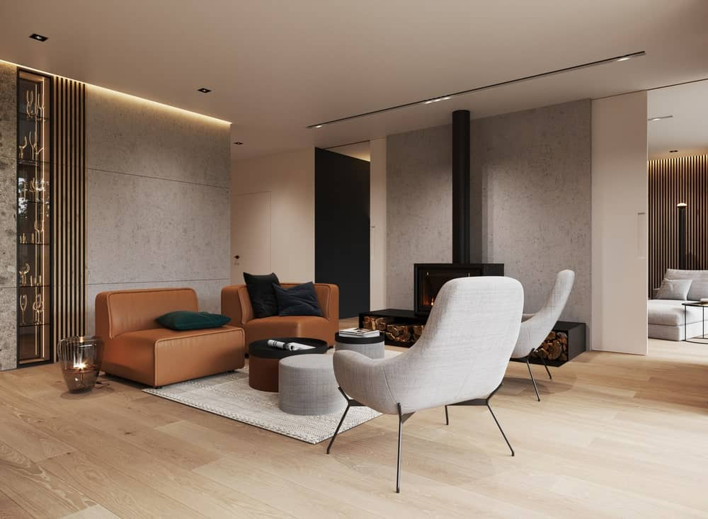 Living room in the Minimalist Home Interior designed by Johny Mrazko and Studioe.