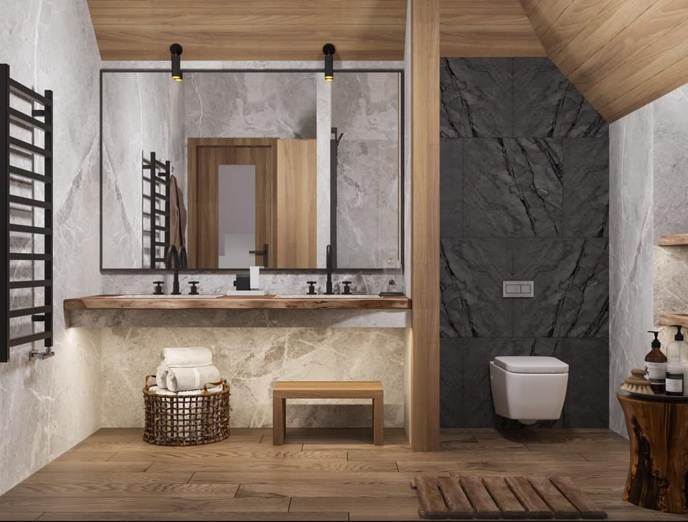 Bathroom in the House CZ Downstairs designed by Ruda Studio.