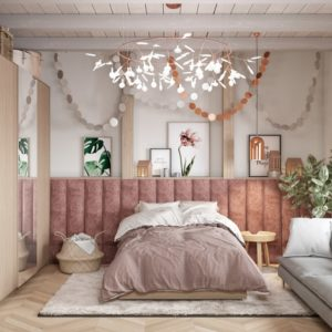 Primary bedroom in the House CZ Downstairs designed by Ruda Studio.