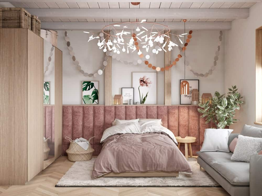 Master bedroom in the House CZ Downstairs designed by Ruda Studio.