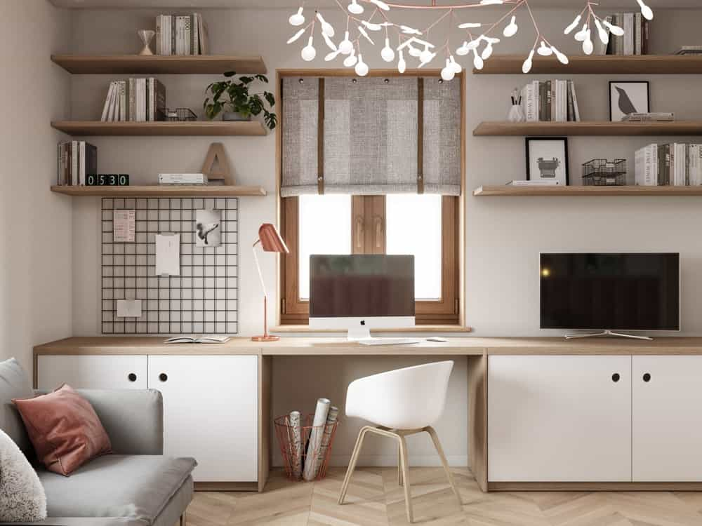 Workspace in the House CZ Downstairs designed by Ruda Studio.