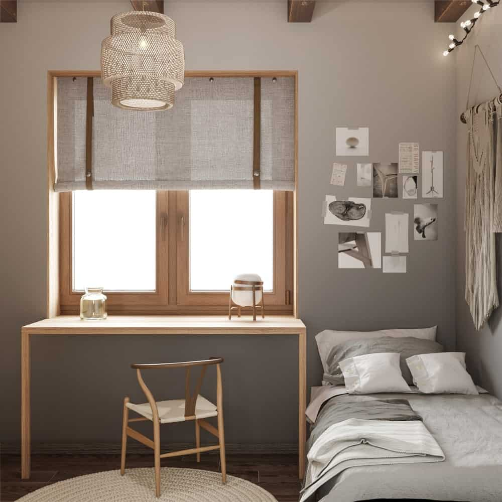 Bedroom with workspace in the House CZ Downstairs designed by Ruda Studio.