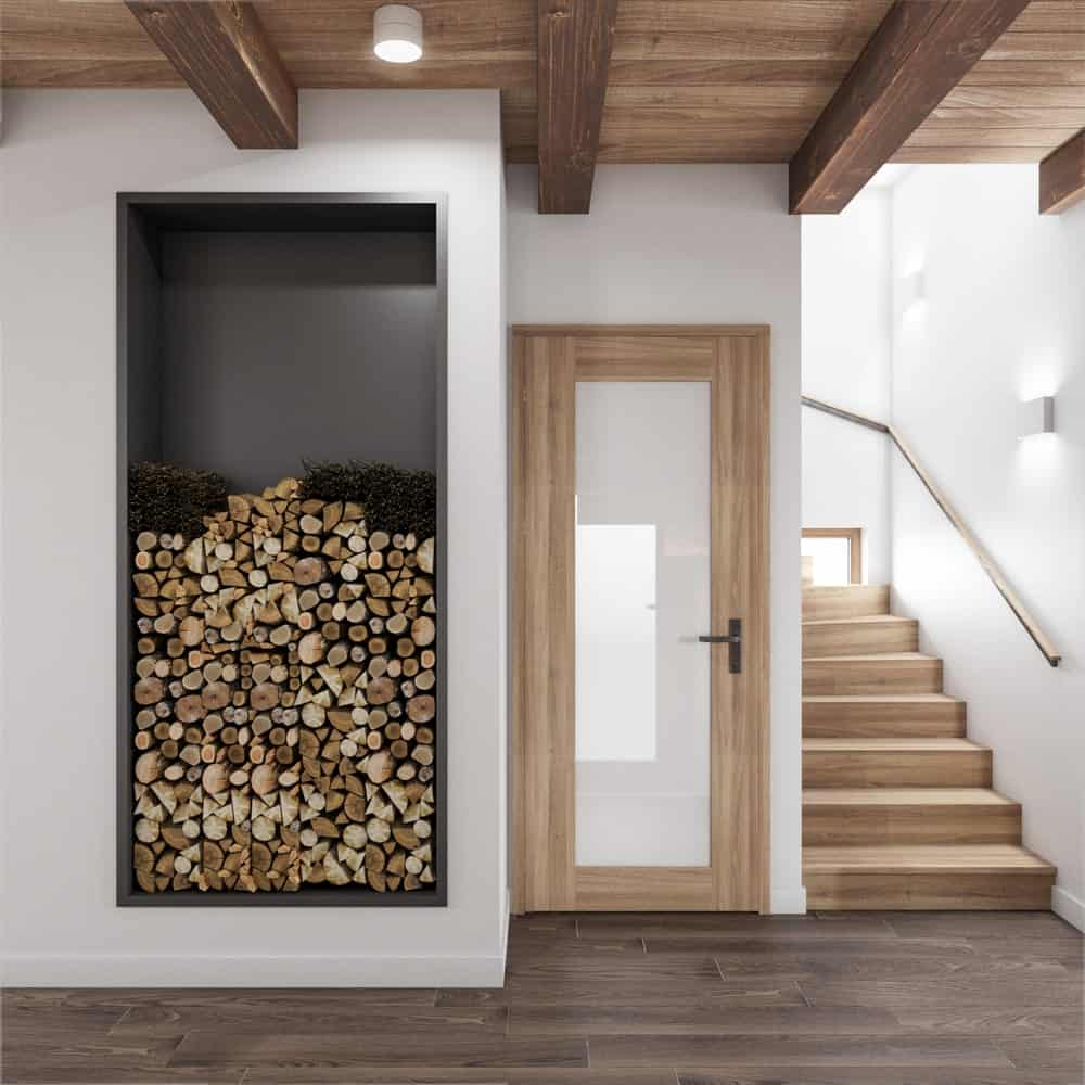 Hallway with firewood inserts in the House CZ Downstairs designed by Ruda Studio.