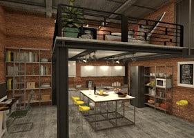 Industrial loft-style kitchen