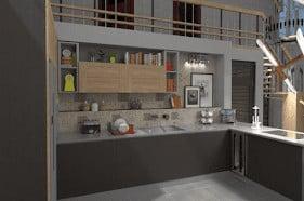 L-shape kitchen layout