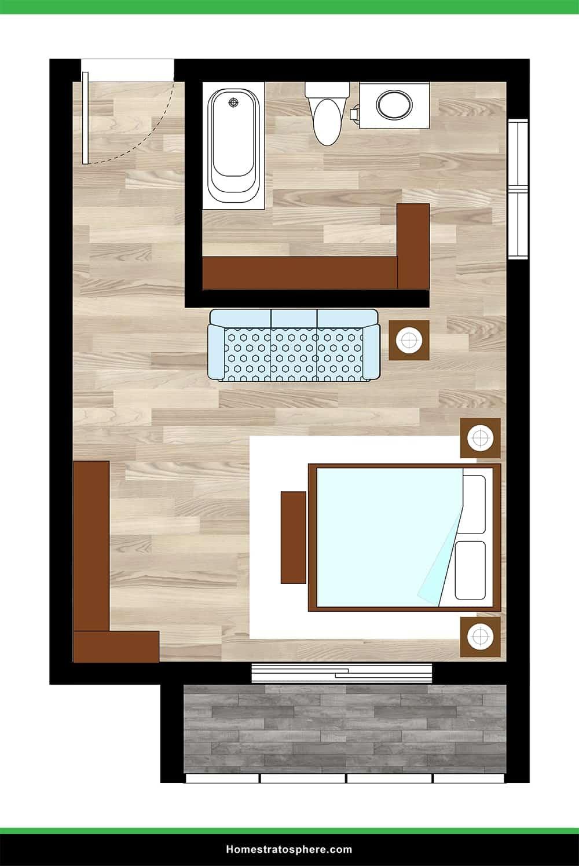 Long Hallway Primary Bedroom with Bath and Balcony