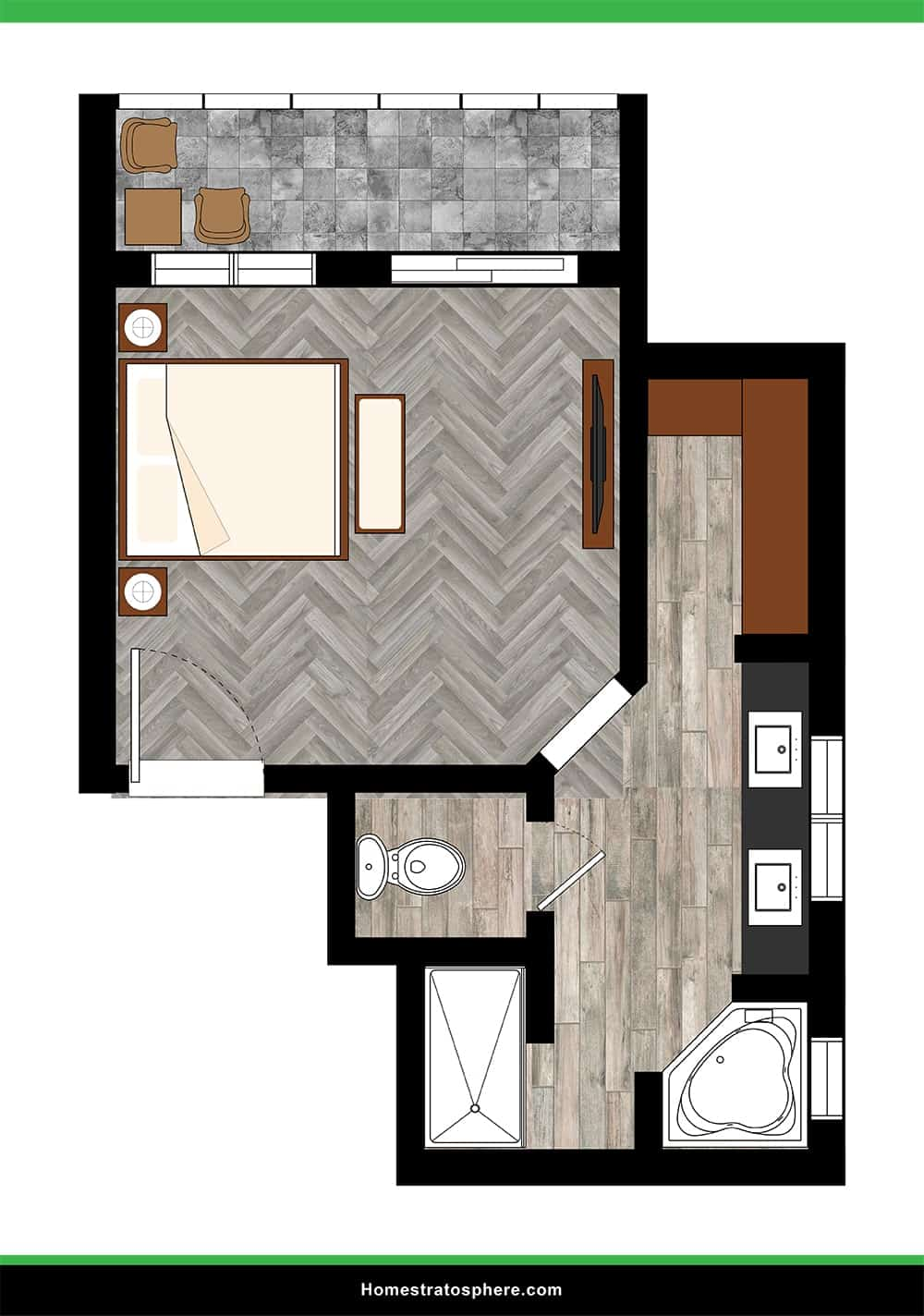 Large Primary Bedroom That Is Spacious, Compartmentalized, and Modern