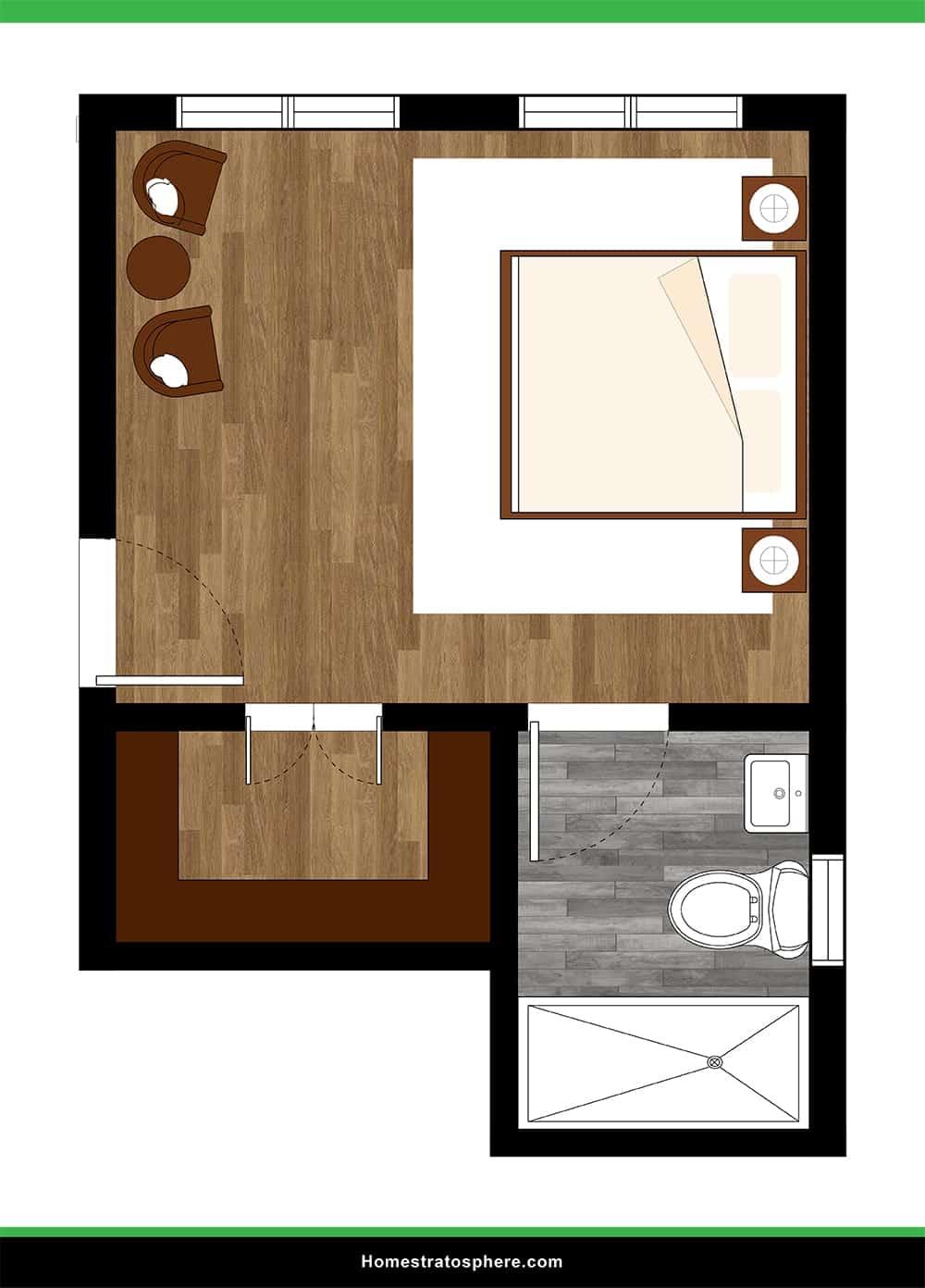 Functional Yet Reasonable Primary Bedroom with Sitting Area