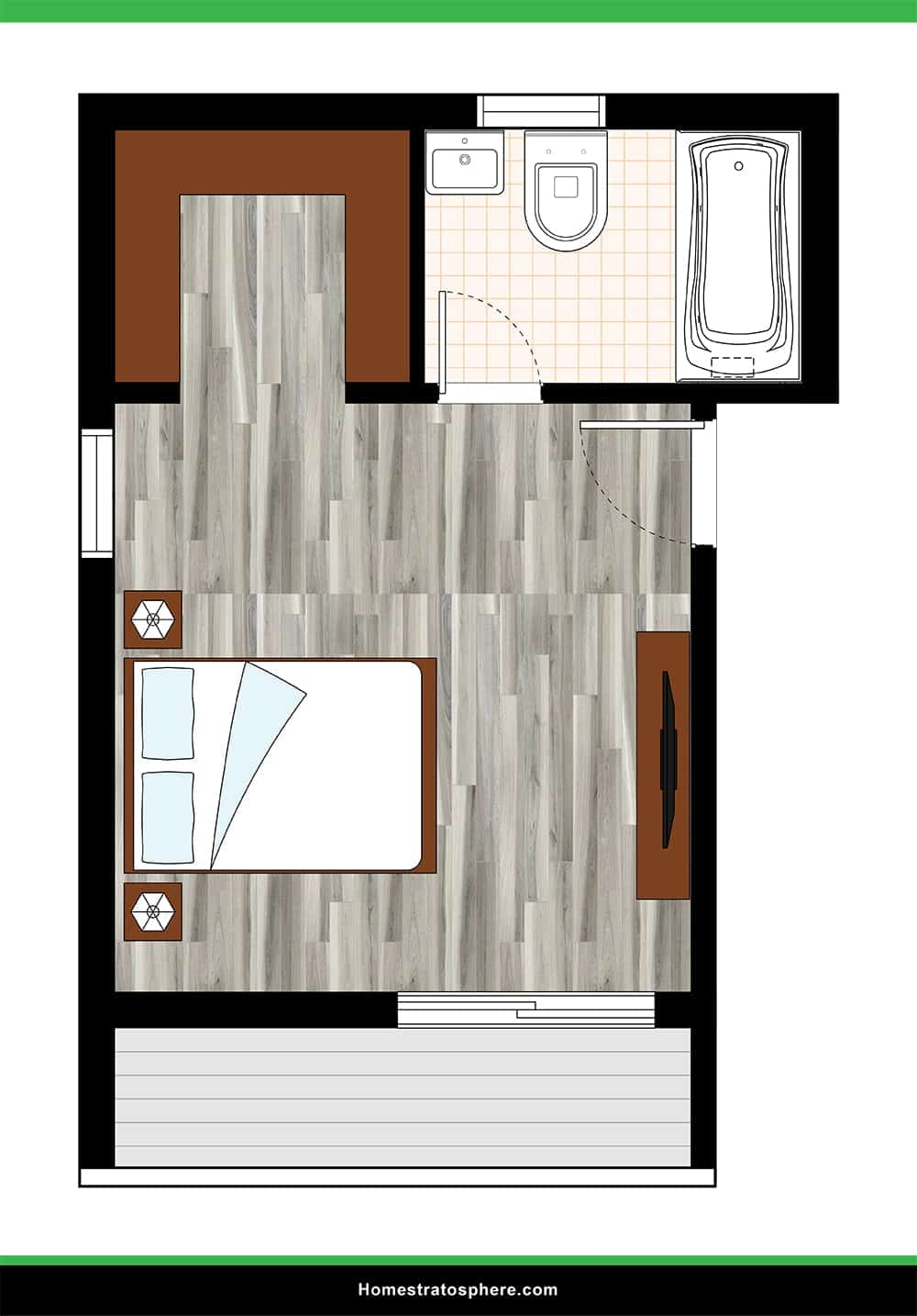Long Primary Bedroom with Balcony