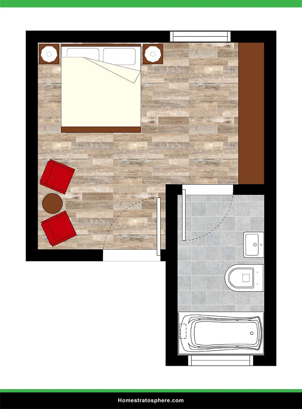 Simple Primary Bedroom with Jutted Attached Bathroom