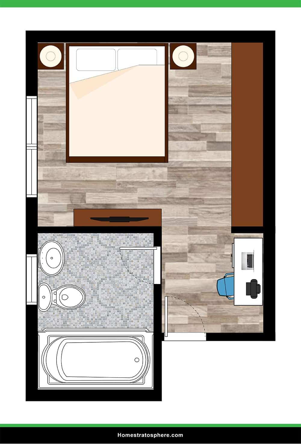 Small Primary Bedroom with Work Space and Large Attached Bathroom