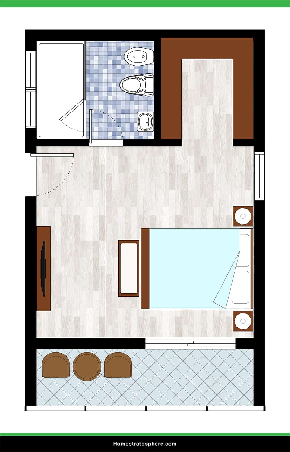 Large Bedroom with Balcony and Full Wall Shower