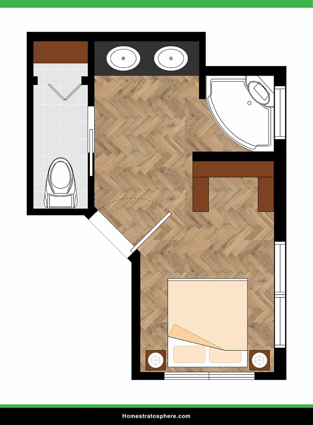Angled Primary Bedroom with Open Bathroom Configuration