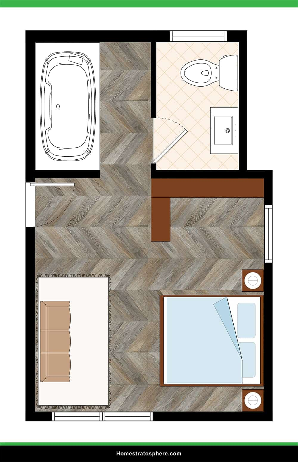 Open Floor Plan with Large Jetted Tub