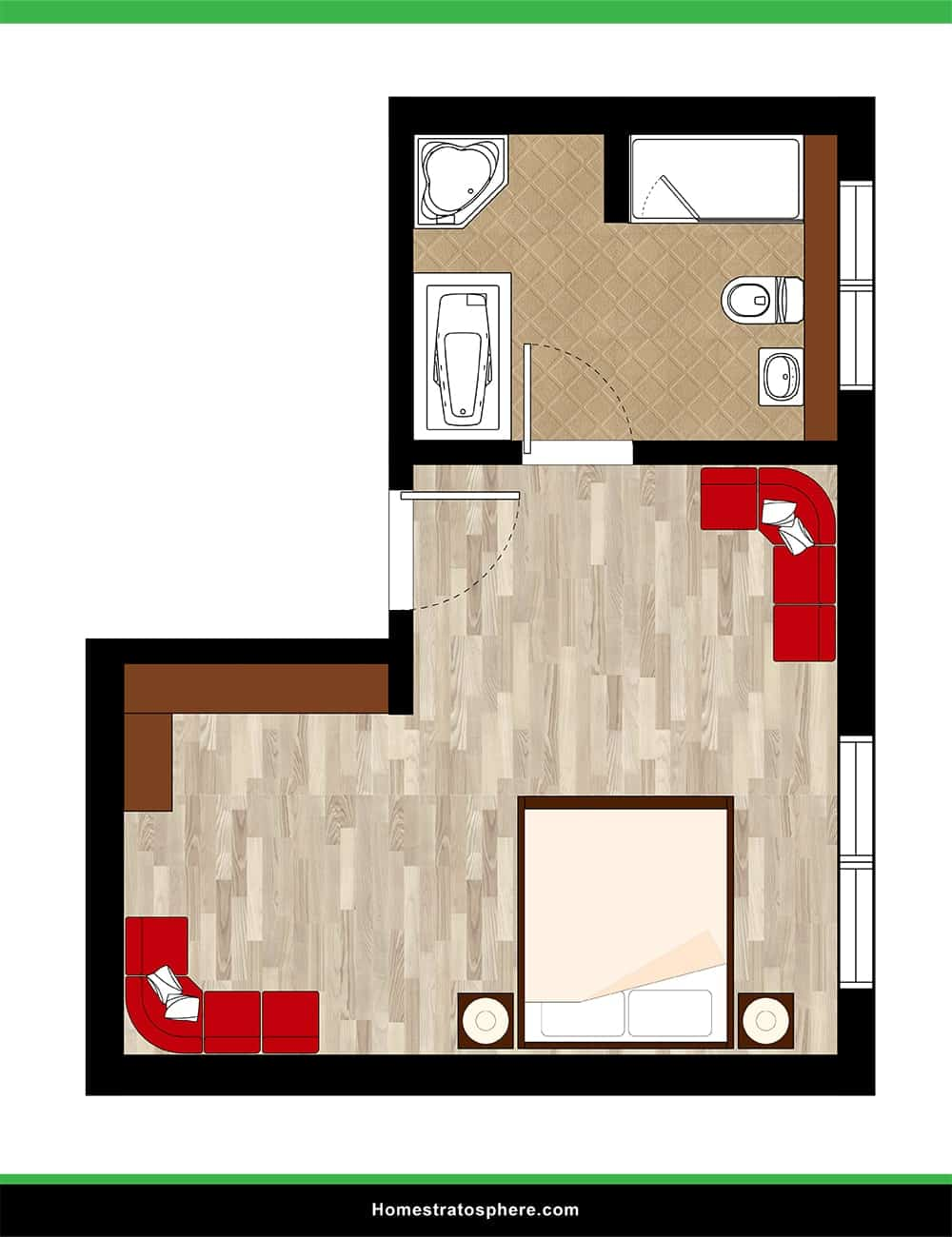 Large L-Shaped Bedroom and Sprawling Bathroom
