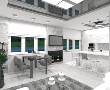 Open concept modern white kitchen example