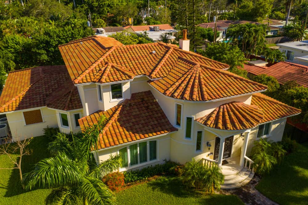 Close-up photo of a mansion's tile roof.