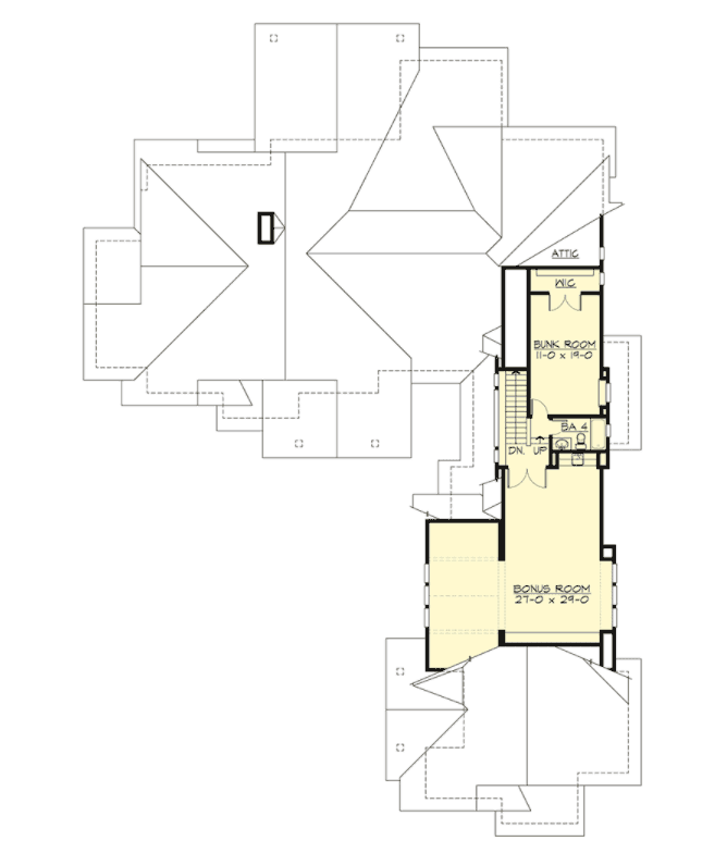 The floor plan highlighting the bunk room and bonus room. DISPLAY
