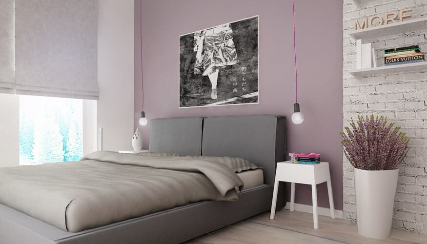 This charming primary bedroom features the largest realization of the pink counterpoint hue with an entire wall establishing the color in between swaths of white.