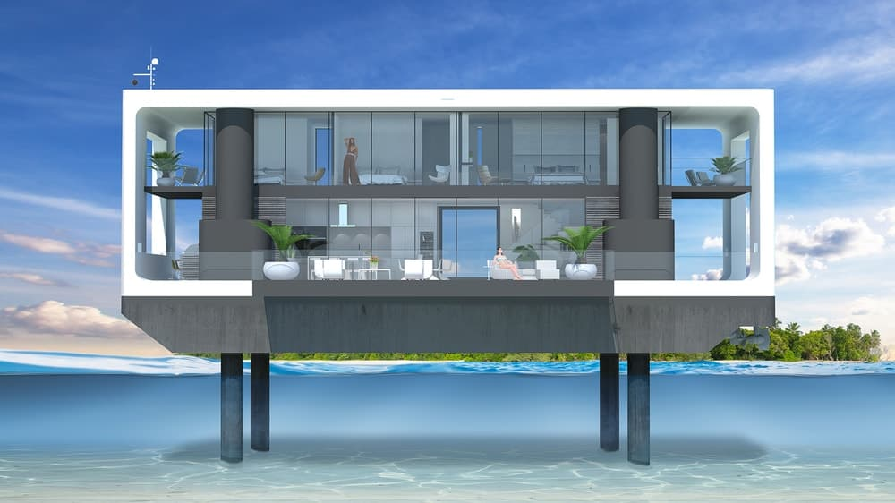 A vector representation of the front view of the Arkup floating villa in all its glory. It has two levels with wide glass walls. It has comfortable modern interiors as well as outdoor areas. Images courtesy of Toptenrealestatedeals.com.