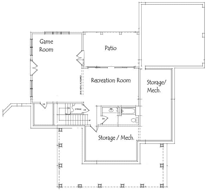 Optional Basement floor plan of the 2-story farmhouse with recreation rooms and storage areas.