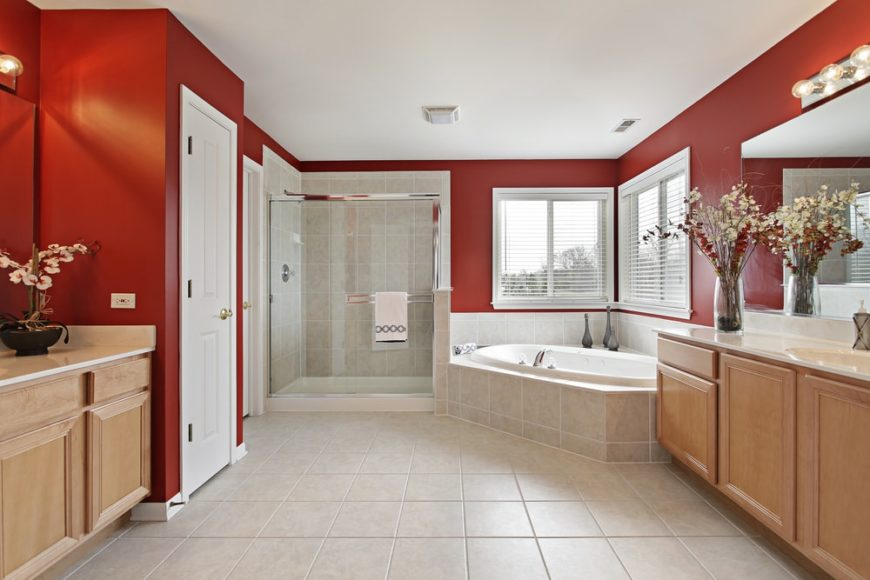 A lovely primary bathroom with a corner bathtub and red walls.