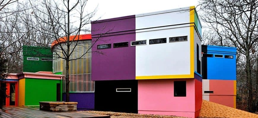 This is a look at the exterior of the house. Here you can see the different sizes and shapes of the structures of the house along with the different colors of the exterior walls.