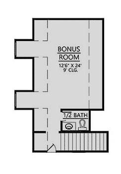 Bonus floor plan with an additional room and a half bath.