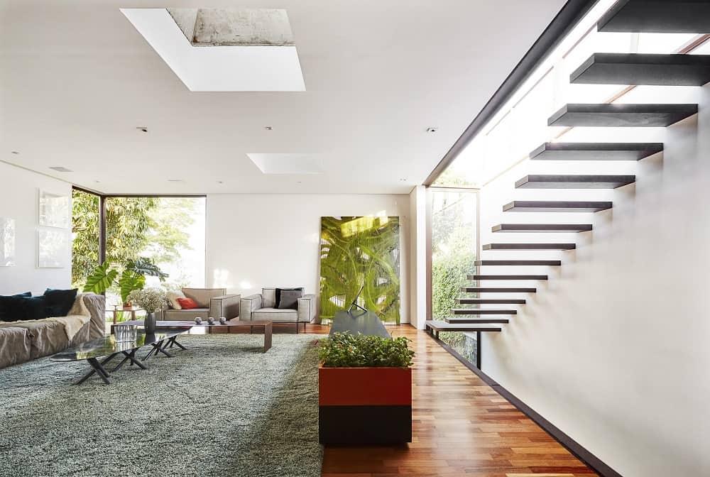 Living area in the Casa Box designed by Flavio Castro.