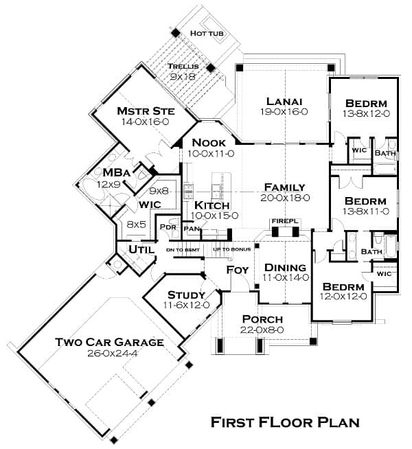 The main floor plan of the house showing the various areas starting from the large garage, the porch, dining room, bedrooms as well as the large area housing the family room, kitchen and nook.